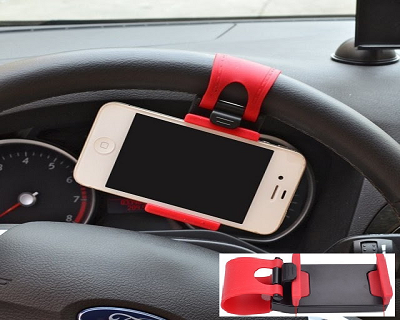 Horizontal Car Steering Universal Smartphone & GPS Holder. Free delivery to Peninsula Malaysia included.Only RM25 Instead of RM39.90