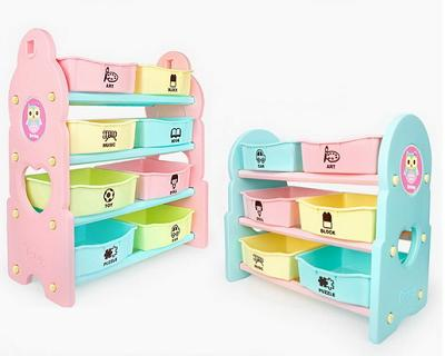 Pastel Colored Toy Storage Shelf